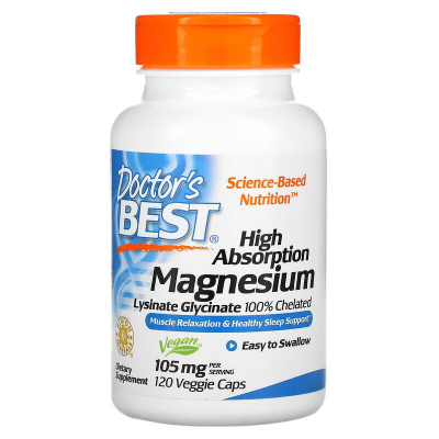 Doctor's Best, High Absorption Magnesium, Lysinate Glycinate 100% Chelated,105 mg, 120 Βίγκαν Κάψουλες