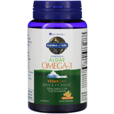 Garden of Life, Minami Algae Omega-3, Γεύση Πορτοκάλι, 60 Μαλακά Τζελ