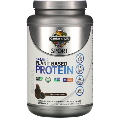 Garden of Life, Sport, Organic Plant-Based Protein, Refuel, Chocolate Flavor, 840 Γραμμάρια