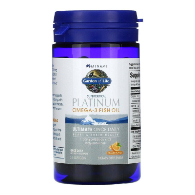 Garden of Life, Minami Platinum, Omega-3 Fish Oil, Ultimate Once Daily, Γεύση Πορτοκάλι, 30 Μαλακά Τζελ