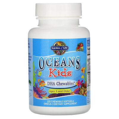 Garden of Life, Oceans Kids, DHA Chewables, Age 3 and Older, Berry Lime, 120 mg, 120 Μασώμενες Κάψουλες