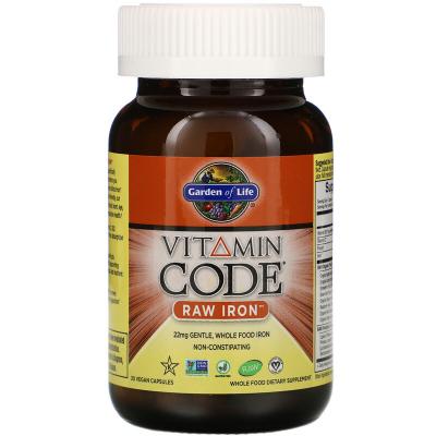Garden of Life, Vitamin Code RAW Iron, 30 Βίγκαν Κάψουλες