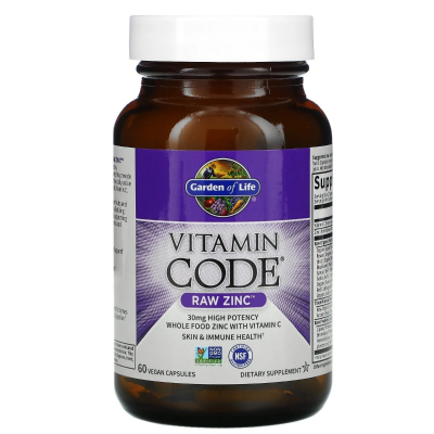 Garden of Life, Vitamin Code, RAW Zinc, 60 Βίγκαν Κάψουλες