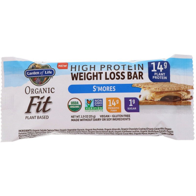 Garden of Life, Organic Fit, High Protein Weight Loss Bar, S'mores, 55 Γραμμάρια