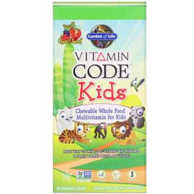 Garden of Life, Vitamin Code Kids, Chewable Whole Food Multivitamin For Kids, 30 Μασώμενα Ζελεδάκια