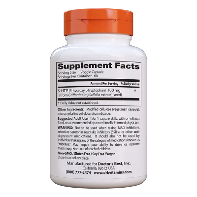 Doctor's Best, 5-HTP, 100 mg, 60 Βίγκαν Κάψουλες