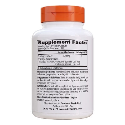 Doctor's Best, Extra Strength Ginkgo, 120 mg, 120 Βίγκαν Κάψουλες