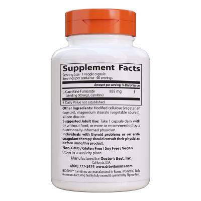 Doctor's Best, L-Carnitine Fumarate with Biosint Carnitines, 855 mg, 60 Χορτοφαγικές Κάψουλες