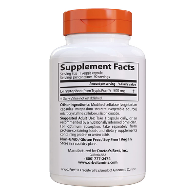 Doctor's Best, L-Tryptophan, 500 mg, 90 Βίγκαν Κάψουλες