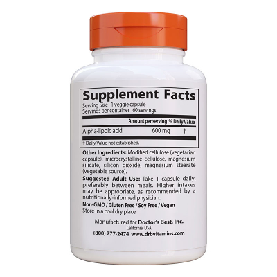 Doctor's Best, Alpha-Lipoic Acid, 600 mg, 60 Βίγκαν Κάψουλες