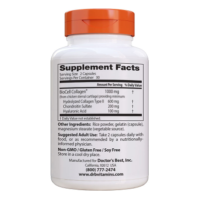 Doctor's Best, Hyaluronic Acid + Chondroitin Sulfate, 60 Χορτοφαγικές Κάψουλες