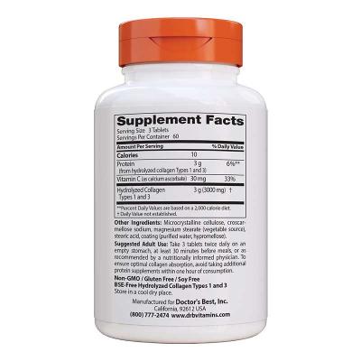 Doctor's Best, Collagen Types 1 & 3, 1,000 mg, 180 Κάψουλες