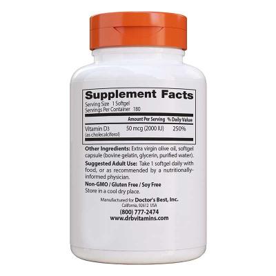 Doctor's Best, Vitamin D3, 50 mcg (2,000 IU), 180 Κάψουλες