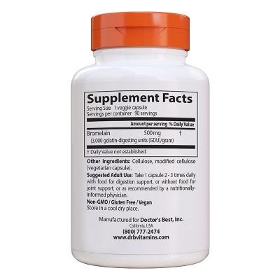 Doctor's Best, High Potency Bromelain, 3000 GDU, 500 mg, 90 Βίγκαν Κάψουλες