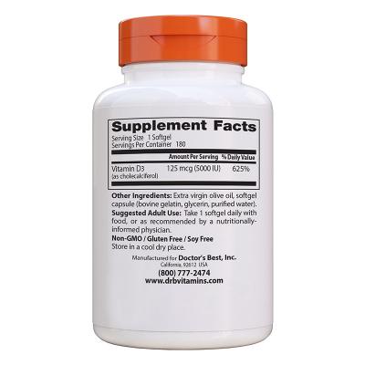 Doctor's Best, Best Vitamin D3, 5000 IU, 180 Κάψουλες