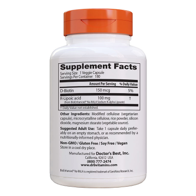 Doctor's Best, Stabilized R-Lipoic Acid, 100mg, 180 Βίγκαν Κάψουλες