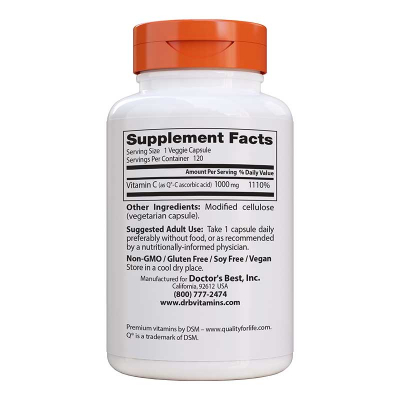 Doctor's Best, Vitamin C, 1000 mg, 120 Βίγκαν Κάψουλες