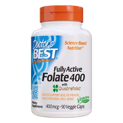 Doctor's Best, Fully Active Folate 400 with Quatrefolic, 400 mcg, 90 Βίγκαν Κάψουλες