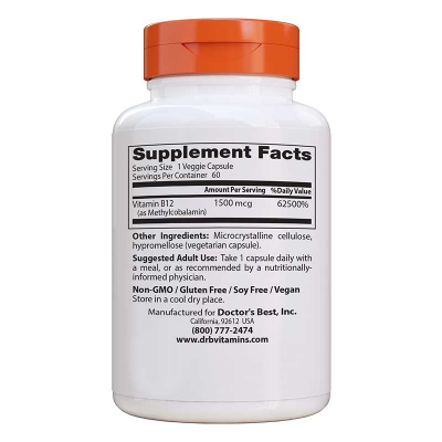 Doctor's Best, Fully Active B12, 1500 mcg, 60 Βίγκαν Κάψουλες