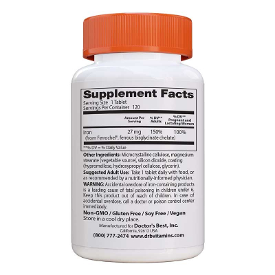 Doctor's Best, High Absorption Iron, 27 mg,  120 Δισκία