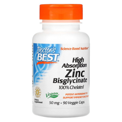 Doctor's Best, High Absorption Zinc Bisglycinate, 100% Chelated, 50 mg, 90 Βίγκαν Κάψουλες