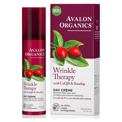 Avalon Organics, Wrinkle Therapy, Με CoQ10 & Rosehip, Κρέμα Ημέρας, 1.75 oz (50 Γραμμάρια)