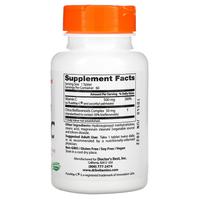 Doctor's Best, Sustained Release Vitamin C with PureWay-C, 500 mg, 60 Δισκία