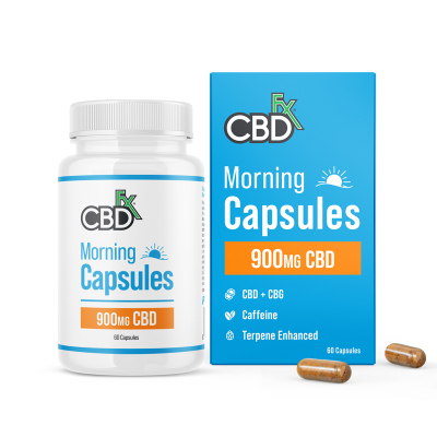 CBDfx, Organic CBD+CBG, Vegan Morning Capsules For Energy & Focus 900mg