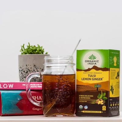 Organic India, Τσάι Lemon Ginger Με Τούλσι, Χωρίς Καφεΐνη, Χύμα, Σε Μεταλλικό Δοχείο 100γρ