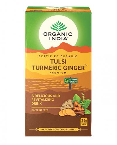 Organic India, Τσάι Turmeric Ginger Με Τούλσι, Χωρίς Καφεΐνη, 25 Φακελάκια