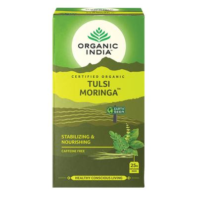 Organic India, Τσάι Moringa Με Τούλσι, Χωρίς Καφεΐνη, 25 Φακελάκια