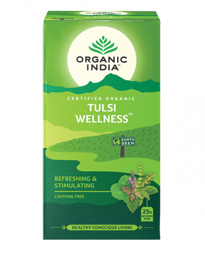 Organic India, Τσάι Wellness Με Τούλσι, Χωρίς Καφεΐνη, 25 Φακελάκια